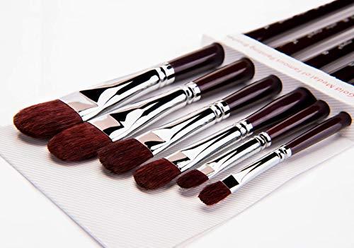 6pcs zibellino Filbert artista set di pennelli per olio Gouche acrilico e acquerello dipinto in legno con manico lungo
