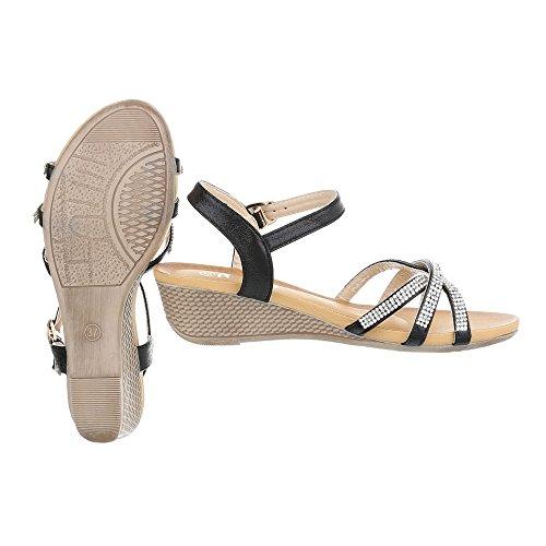 Keilsandaletten Damenschuhe Plateau Keilabsatz/ Wedge Keilabsatz Schnalle Ital-Design Sandalen / Sandaletten Schwarz yicIGDjw8a