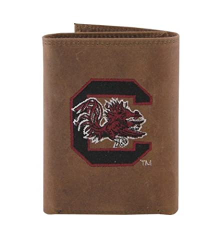NCAA South Carolina Gamecocks Zep-Pro Crazyhorse Leather Trifold Embroidered Wallet, Light Brown by ZEP-PRO