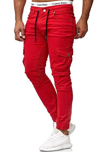 OneRedox Herren Chino Pants | Jeans | Skinny Fit | Modell 3207 Rot 36/32 -