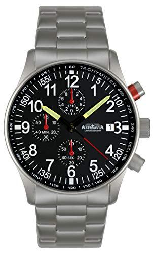 Astroavia Herren-Armbanduhr Chronograph Quarz mit Edelstahl Armband N97S