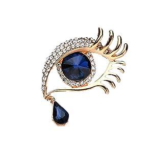 AILUOR Damen Angel Tears-Brosche, Elegante Strass Saphir-Große Augen-Legierung Lange Wimpern Corsage Breastpin