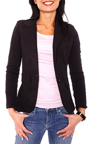 Damen Sommer Sweat Jersey Blazer Jacke Sweatblazer Jerseyblazer Sakko Kurz Gefüttert Langarm Uni Einfarbig Schwarz XS - 34 (S)