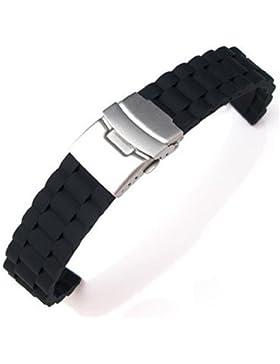 Schwarze Silikon Armband Wasserdicht Tauchen Band Faltschließe 20mm