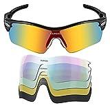 Youngdo Freizeit Pilotenbrille Sonnenbrille/ Outdoor Radbrille Sportbrille Fliegerbrille, Polarisiert, Verspiegelt und Mordern Design, für Outdooraktivitäten und Freizeitmöglichkeiten (Sport + schwarz + 5 in 1)