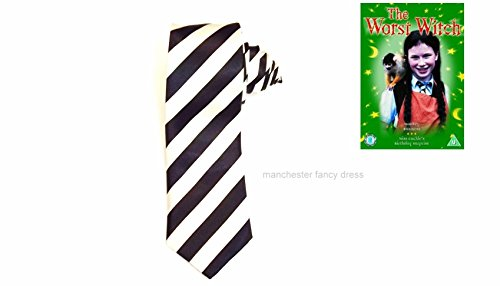 130cm Length Black White Striped Tie Mildred Hubble Worst Witch Fancy Dress  Adult or Child. by mfd c9208501c