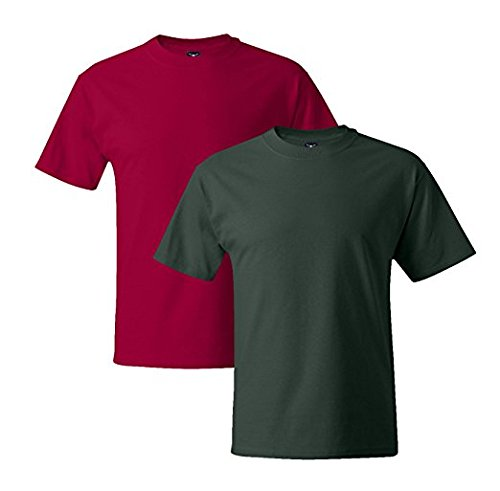 Hanes Mens 5180 Short Sleeve Beefy T 1 Deep Forest / 1 Deep Red