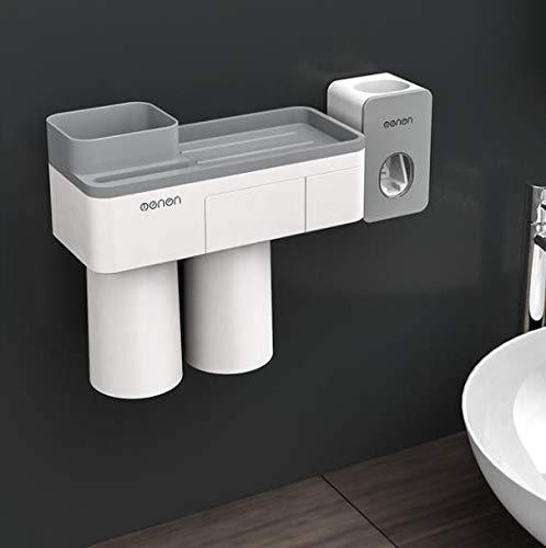 Calistouk Soporte Cepillo de Dientes adsorción magnético Accesorios baño Estante Almacenamiento de Pasta de Dientes (2 Tazas con Dispensador de Pasta)
