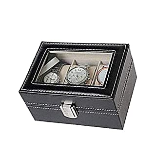 Lvcky 3 Grids Black PU Leather Glass Top Watch Display Storage Box Jewelry Case Organizer Holder