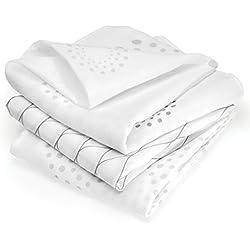 Muselina bebé algodón - 3 Ud., 80x80 cm, estampado Diseño Grafico | Tejido doble con bordes reforzados, certificado OEKO-TEX | Paños de gasa color blanco - gris