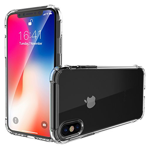 iPhone Xs Case, iPhone X Case, Garegce Clear Shockproof Bumper Case With[Glass Screen Protector]Soft TPU Silicone Case Cover[Drop Protection]Crystal Gel Case Skin for iPhone Xs/X - Transparent