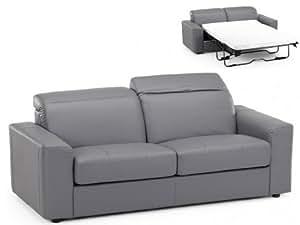 Canapé convertible 3 places simili avec 2 têtières relax CAMUS - Gris