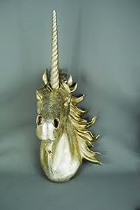 Large Magical Glitter Unicorn Silver Champagne Head Wall Art Mount -Resin