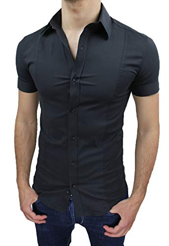 Camicia uomo slim fit nero aderente elasticizzata manica corta casual (xl)