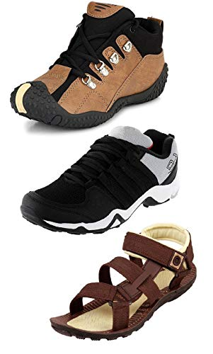 Tempo Men's Combo Pack of 3 Footwear (Outdoor Shoes, Loafers & Floaters Sandals)-10