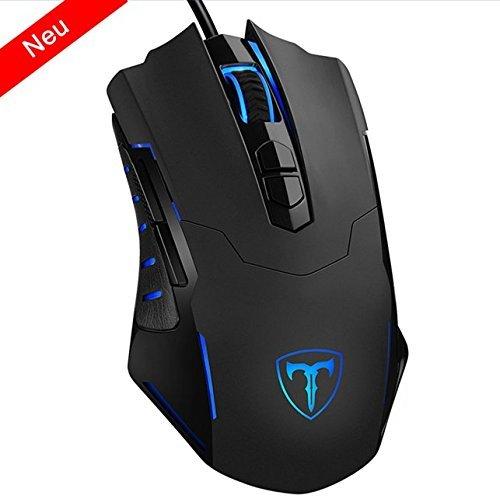 Gaming Maus,【Neuste Version】 HoLife Gamer Maus 7200DPI PC Gaming Maus Hohe Präzision für Pro Gamer mit 7 programmierbaren Tasten, LED, ergonomisches Design, USB-Wired Maus optisch (Schwarz)