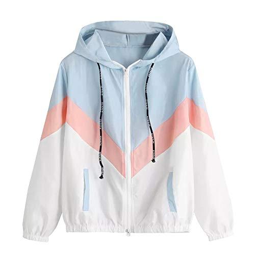 TWIFER Damen Langarm Patchwork Dünne Cardigan Mädchen Jacken mit Kapuze Reißverschluss Sport Mantel -