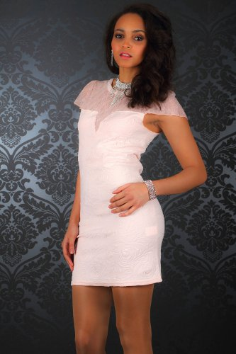 5528 À manches courtes pour femme fashion4Young mini-robe asymétrique en 4 couleurs et 2 tailles - Abricot