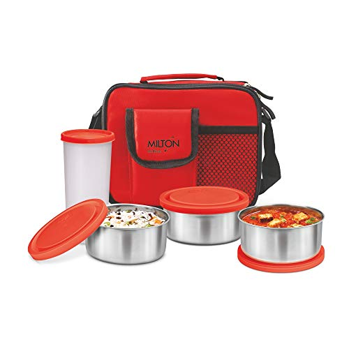 Milton Meal Combi 3 Lunch Pack with 3 Stainless Steel Containers   1 Tumbler, Red Lunch Boxes