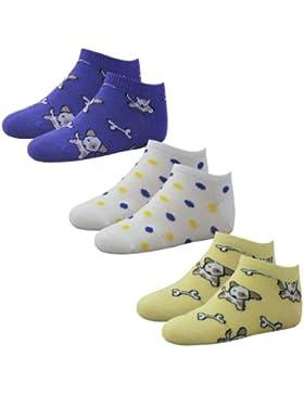 6 Paar Kinder Sneaker Socken Motiv 'Dog' in 3 Farben Nr. RS21153