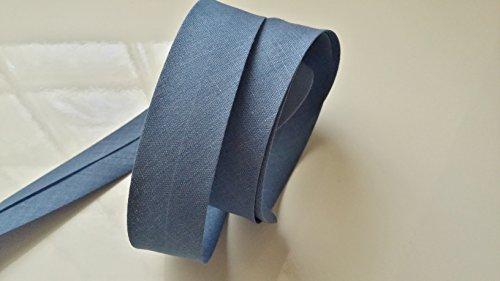 Durch Uni Farbe Jeans Blau 20mm gefaltet (38mm aufgeklappt) (x 2Meter) Couture Zubehör für Verarbeitung Stoff Kreationen Polyester-Schleifenband durch für Bastler durch 2Meter