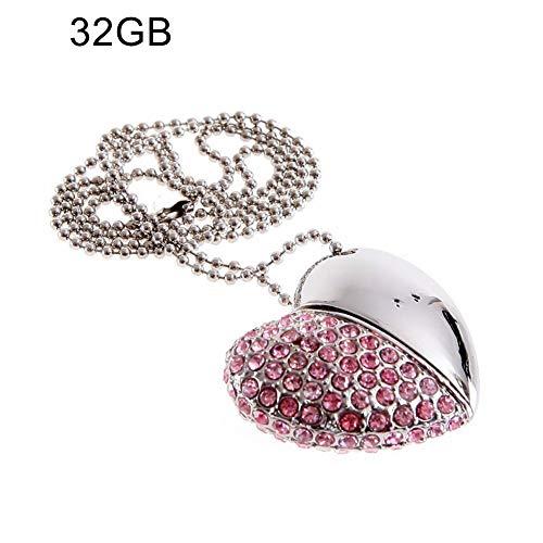 Halskette, Geschenk für Mütter, Frauen, Mädchen, 4/8/16/32/64G, Strass-Herz, USB 2.0, Speicherstick U Disk, Halskette – Silber 8 GB, ()
