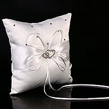 XCSOURCE® Cojín para Anillos de Satén Boda Alianzas Blanco Matrimonio Cojín Decorativo WG045
