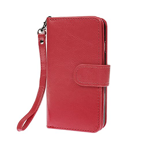 xhorizon TM FM8 Cuir Premium Folio étui [ la fonction de portefeuille] [magnétique détachable] Sac à main bracelet souple Carte Multiple couvrefente pour iPhone 5C rouge