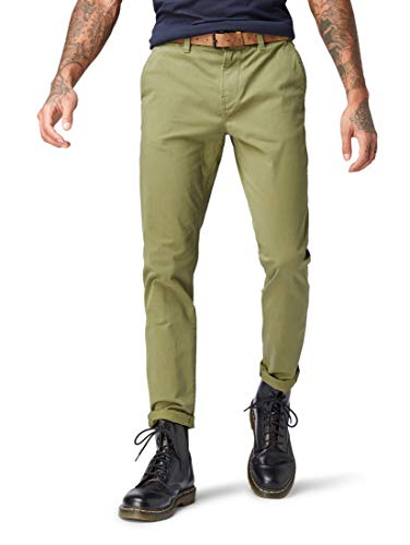 TOM TAILOR Denim für Männer Hosen & Chino Chino Hose mit Gürtel Cedar Green, 29/34 5-pocket Cord-jeans