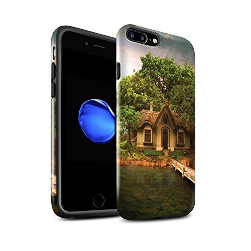 Officiel Elena Dudina Coque / Brillant Robuste Antichoc Etui pour Apple iPhone 8 Plus / Pack 17pcs Design / Fantaisie Paysage Collection Île Maison