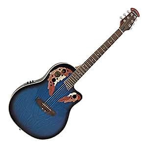 Guitare Electro-Acoustique à Dos Rond Deluxe par Gear4music Blue Burst