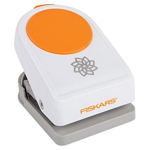 Fiskars Motiv-Stanzer, Lotusblume, Ø 5 cm, Qualitäts-Stahl/Kunststoff, Weiß/Orange, Intricate Shape Punch, XL, 1015773 - Blume Fiskar Stanze