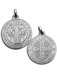 Médaille de St Benoit Argentée - Aide Spirituelle - Sans la Chaine - Pièce