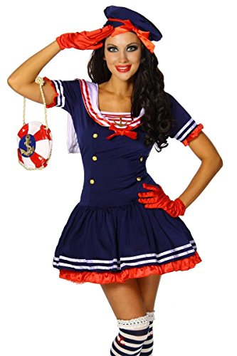 Karneval Mottoparty Süsses Marine-Kostüm blau/rot/weiß GrS-M, Größe (Damen Sexy Matrose Kostüm)