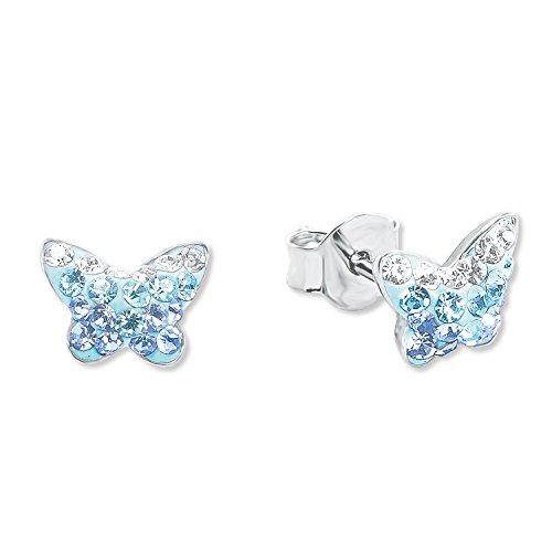 amor Mädchen-Ohrringe mit blauem Schmetterlings-Motiv aus rhodiniertem 925er Sterling Silber