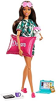 ​Barbie Relaxation Doll, Brunette, with Puppy and 8 Accessories, Including Pillow, Journal and Sleep Masks, Gi