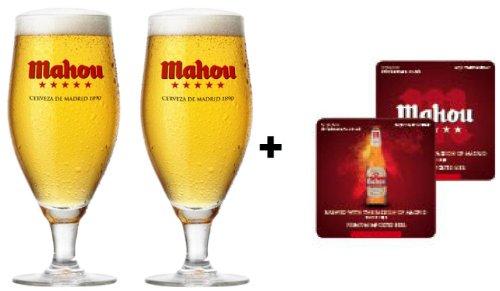 mahou-300-ml-vaso-de-cristal-endurecido-de-cerveza-con-posavaos-mahou-plus-2-unidades