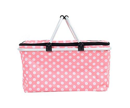 Gabrielley Dot Cute Grosse Kapazitaet Isolierter Picknickkorb Gekuehlte Taschen-Rosa Punkte