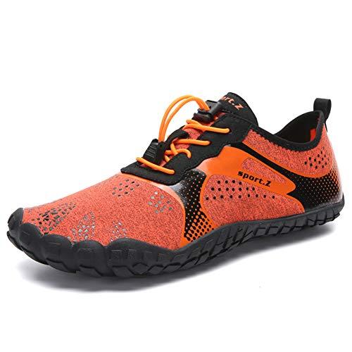 Herren Damen Outdoor Fitnessschuhe Barfußschuhe Trekking Schuhe Badeschuhe Schnell Trocknend Rutschfest(Grau Schwarz,40 EU)