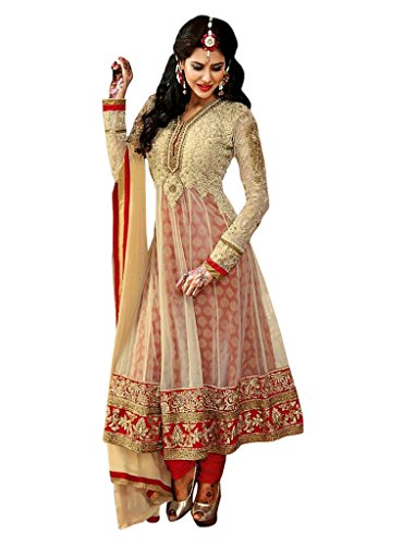 1 Stop Fashion Cream Net Embroidered & Zari Work Semi Stitched Anarkali Suit