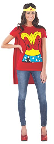 Official Ladies Wonder Woman T-Shirt Cape Set Adult - Choice of Sizes