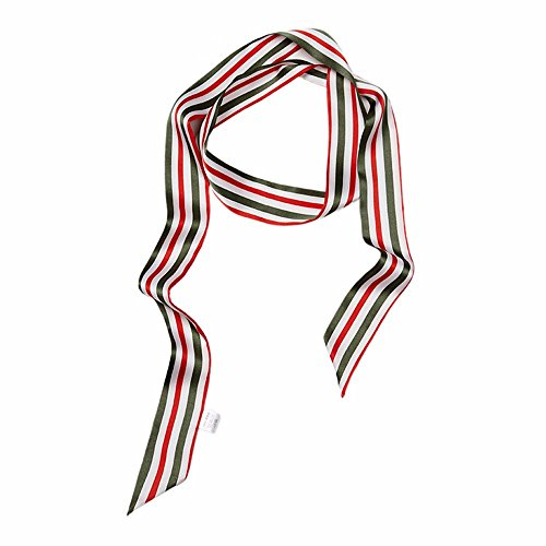 Recto-verso impression décorative rectangulaire rayures foulard/écharpes en soie W4.5 cm * L170cm Rouge et vert