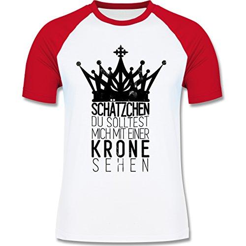 Shirtracer Statement Shirts - Du Solltest Mich mit Einer Krone Sehen - Herren Baseball Shirt Weiß/Rot