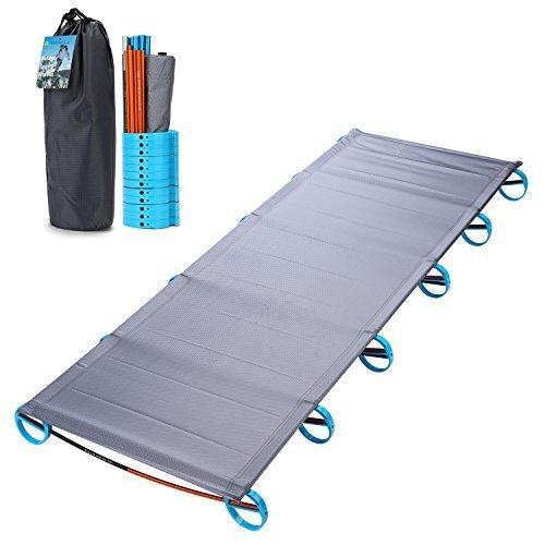 Yahill® Ultralight Campingbett Feldbett (180*58*10cm or 190.5*70*17cm), Oder Zelt Bett Ersatz Aluminiumlegierung für Indoor Outdoor Camping Wandern Angeln (Grey)