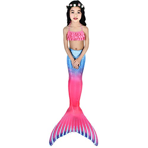 (Jingyuan Mermaid Mermaid Tail for Swimming Swimwear Sets for Little Girls, Bikini Kids Beach Cosplay Costume Swimwear)