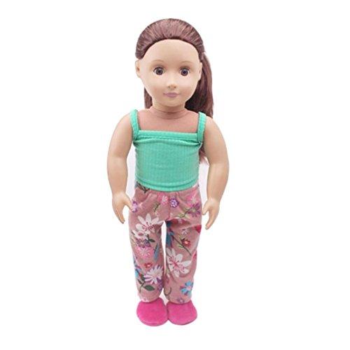 2018Neueste dikewang Casual Lovely ärmellos Weste & Hose Kleidung Kleidung, für Generation 45,7cm American Girl Puppe, helfen Kindern lernen Kinder zu tragen Kleidung, blau, Einheitsgröße