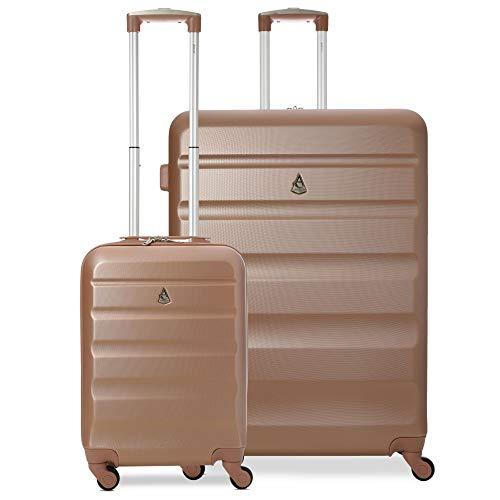 Aerolite Leichtgewicht ABS Hartschale 4 Rollen Trolley Koffer Reisekoffer Hartschalenkoffer Rollkoffer GepŠck, 55cm + 79cm, Rose Gold