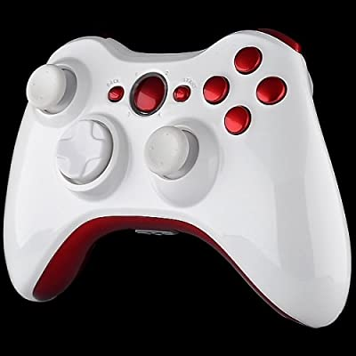 Official Xbox 360 Wireless Controller - Piano White with Red Buttons