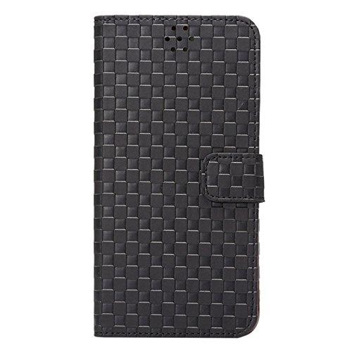 wkae Schutzhülle Case & Cover Prägung Grid Textur Horizontal Flip Ledertasche mit Halter & Cardslot für iPhone 6Plus & 6splus schwarz