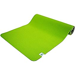 TechFit Premium Yoga Mat 6 mm Eco Thick TPE, Multifunctional, Large Non Slip Exercise Relaxation Padded Mat, Durable, High Density Foam Home, Gym, Indoor Outdoor (Green)